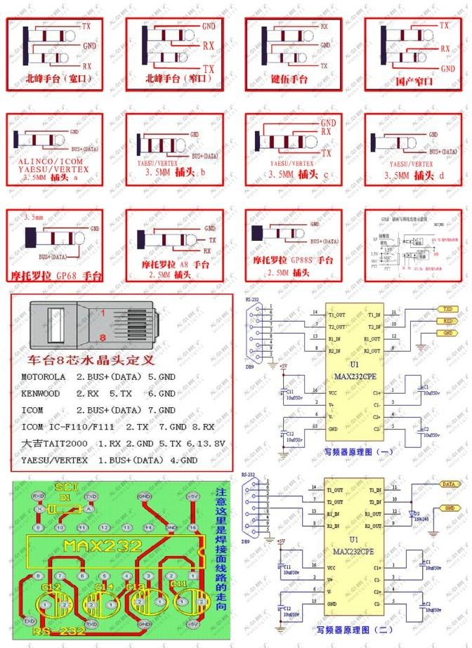 改造对讲机K头写频线为K头和RJ45头二合一线,即时通D9000可用